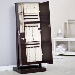 Belham Living Bordeaux Locking Cheval Mirror Jewelry Armoire - Floor ...