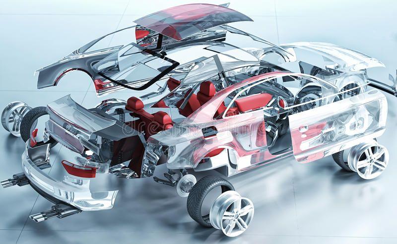 Exploded Transparent Car Realistic 3d Render Ad Transparent