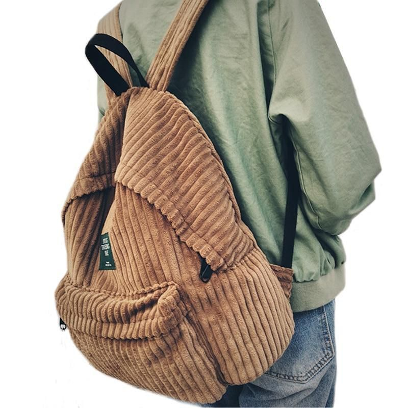 Backpack schoolbag women school backpack bags corduroy backpack teenage backpacks for girlsintothea #backpacks