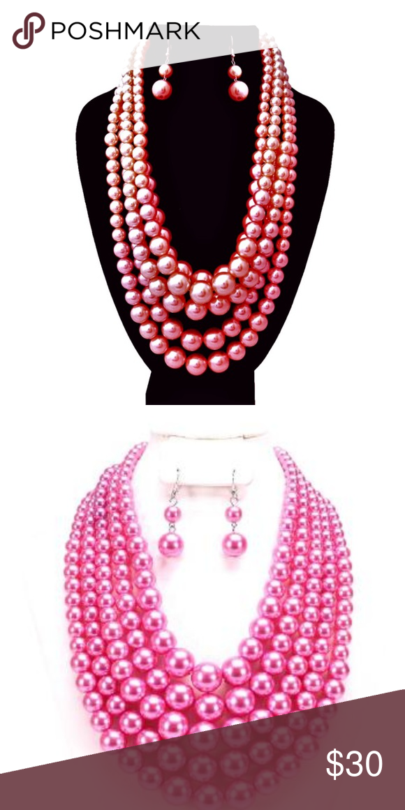 a258e4fd8693cf Hot Pink Pearl Multi Strand Necklace Set Silver and Hot Pink Pearl 5 Strand  Necklace Set. 18 inches long. Brand New! Jewelry Necklaces
