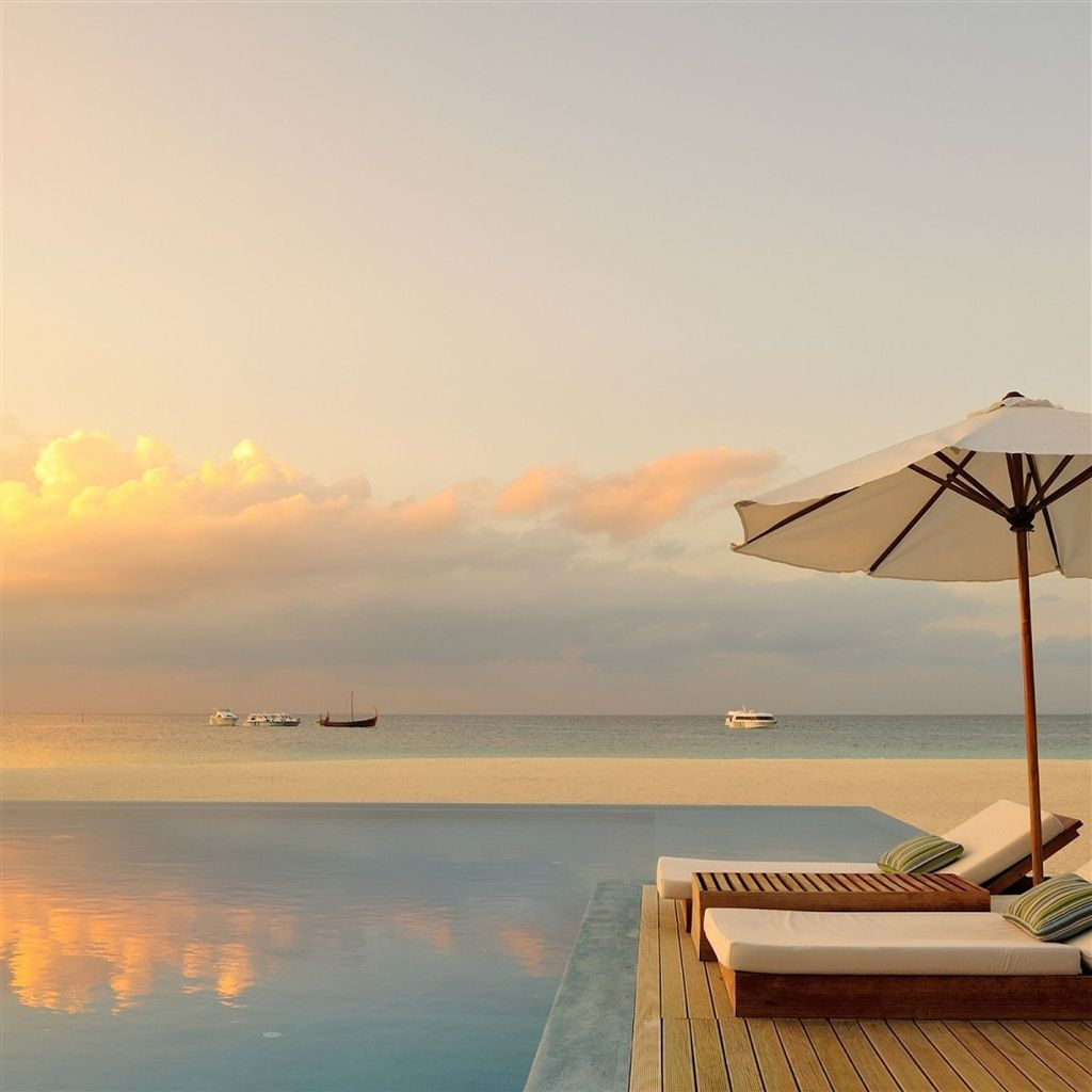Summer Pool Sunset iPad Air Wallpaper Summer