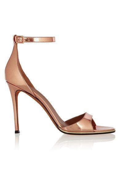 Givenchy sandales talons en cuir effet miroir couleur or for Miroir rose gold