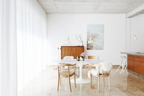 Home Tour: Ladylike Scandinavian Simplicity// sheepskin, loft, penant light