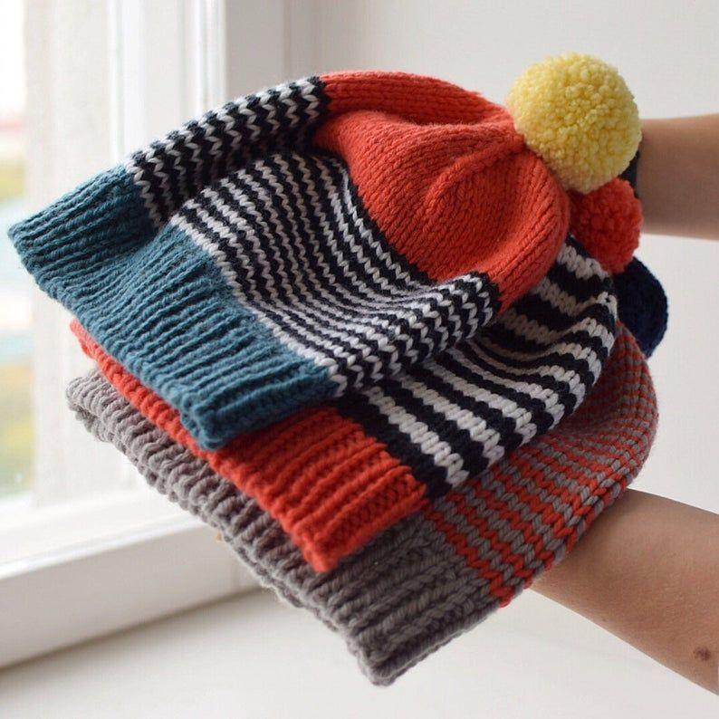 A Hand Knit Large Unisex Hat
