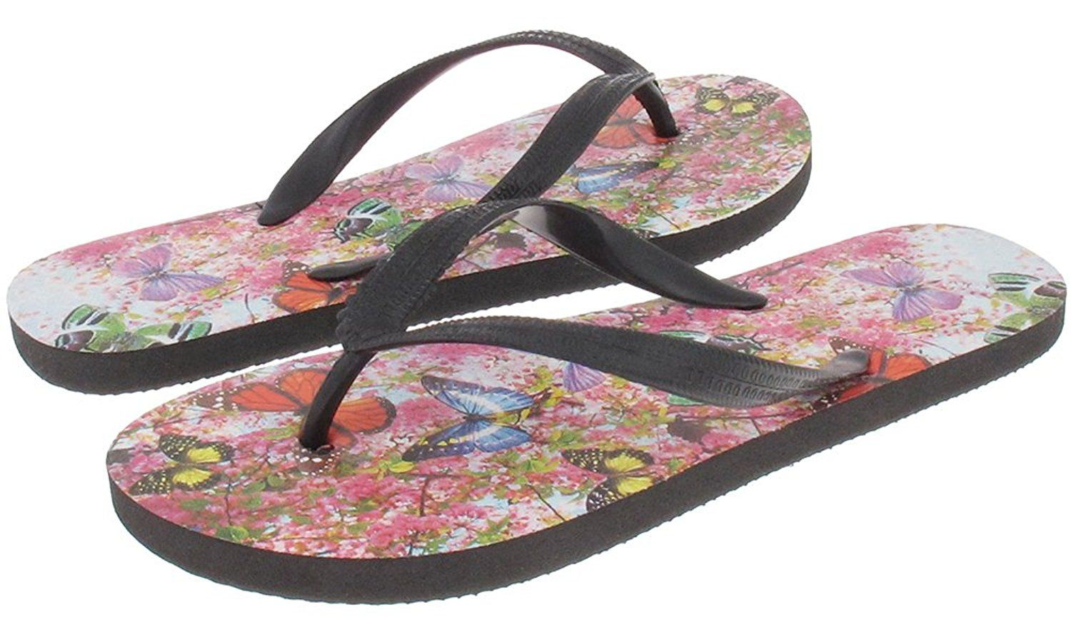 Capelli New York Textured Opaque Jelly Thong With Butterfly Garden Photo  Ladies Flip Flops **