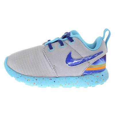 3a31f866d597 Nike Roshe One Print Td Toddler 749358-006 Grey Blue Shoes Sneakers Baby  Size 4