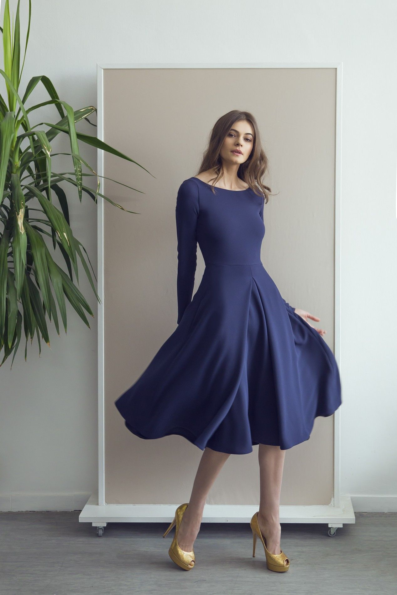Long sleeved flared midi dress that perfect dress pinterest