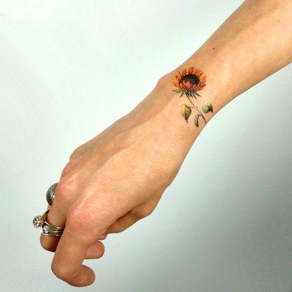 Sunflower Temporary Tattoo By Lena Fedchenko Set of 3 | Etsy