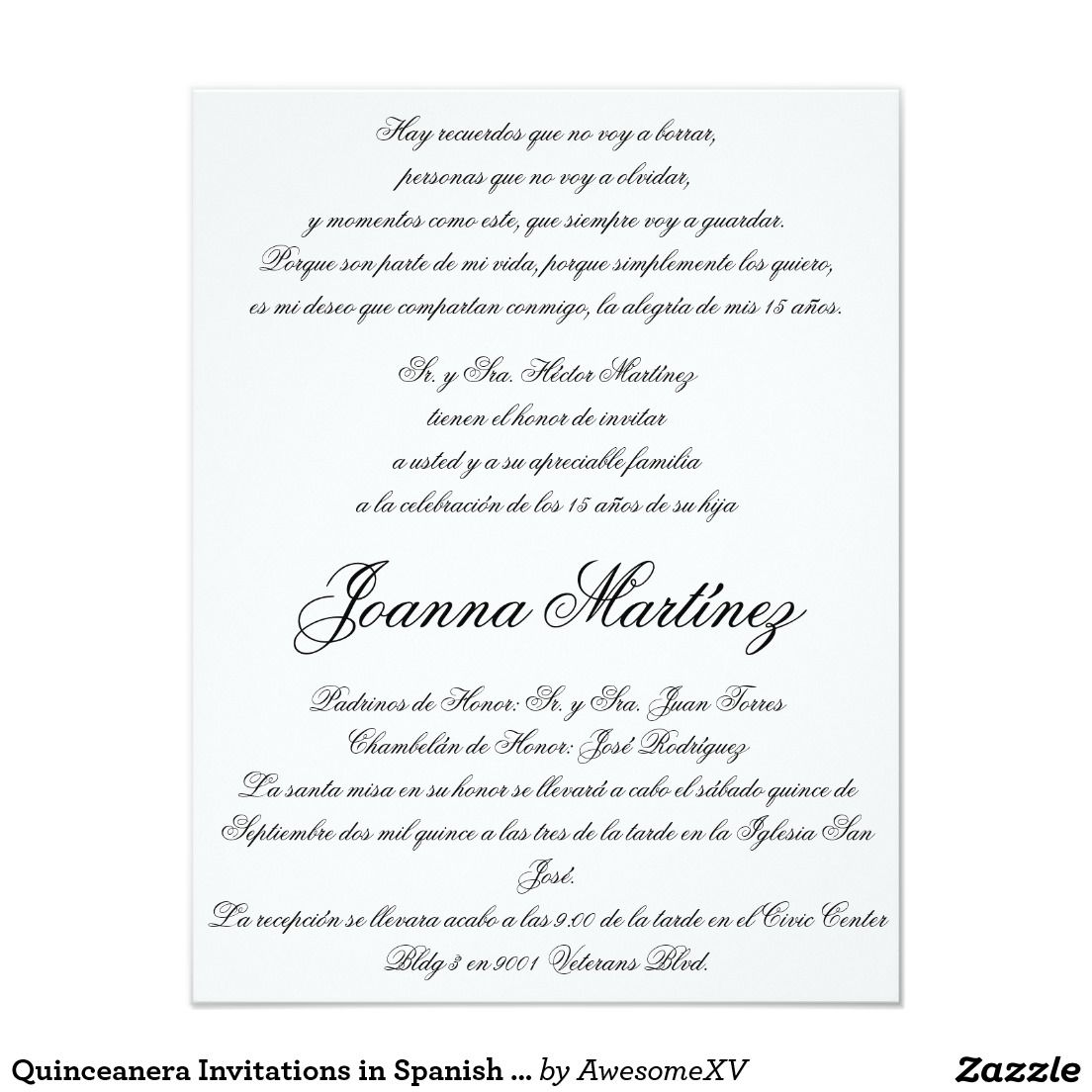 Wedding Invitation Wording Samples In Spanish: Quinceanera Invitations In Spanish 4.25 X 5.5