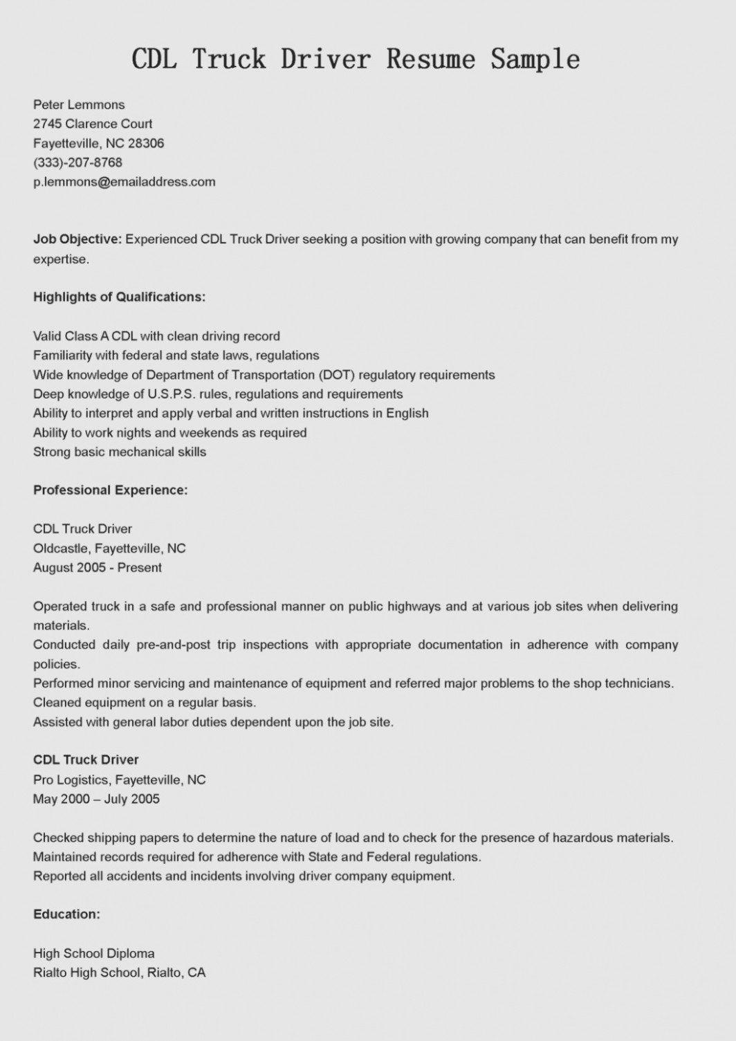 30 truck driver resume pdf resume sample resume cover