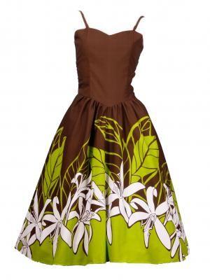 c670e781aedd Hula Midi Dress with Lily Print / Brown / G1549br | Hula Auana ...