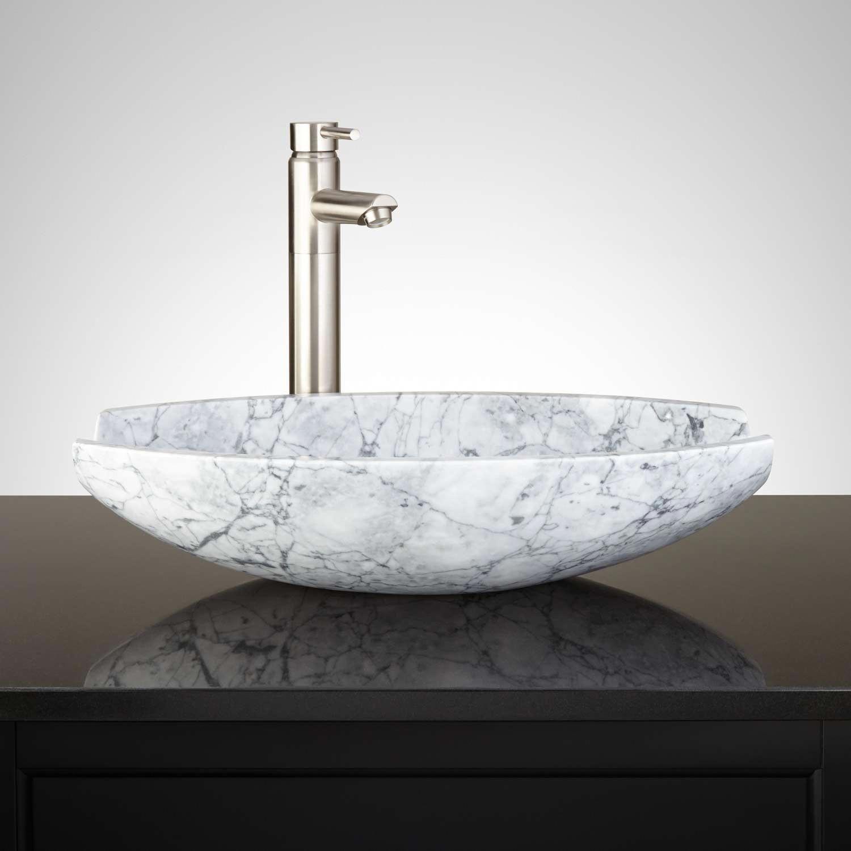 Springs Oval White Marble Vessel Sink Vessel Sinks Bathroom