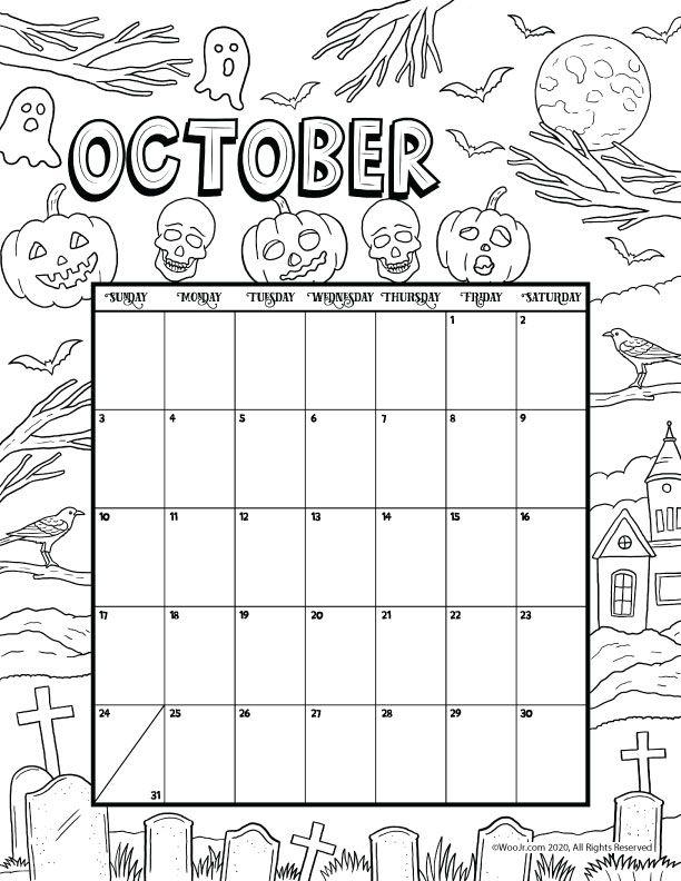 October 2021 Printable Calendar Page | Woo! Jr. Kids ...
