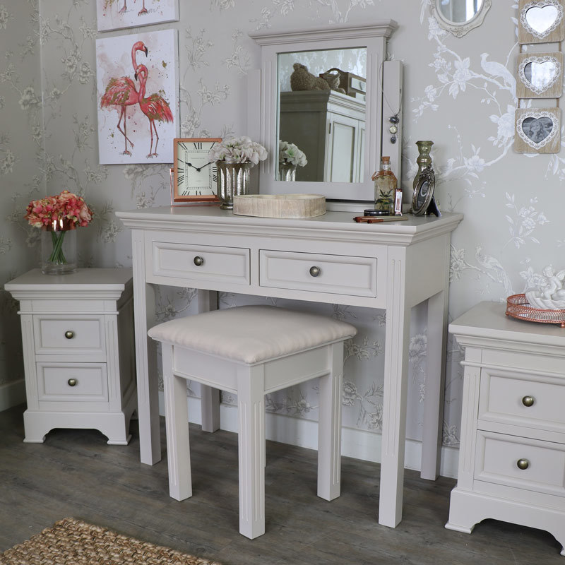 new style e0101 f1331 Grey Dressing Table, Stool And Mirror Set Daventry Taupe ...