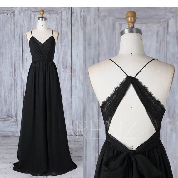 Bridesmaid Dress Black Chiffon Dress Wedding Dress V Neck Maxi Dress Criss Cross Straps A-Line Party Dress Open Back Lace Prom Dress-L399) #lacechiffon