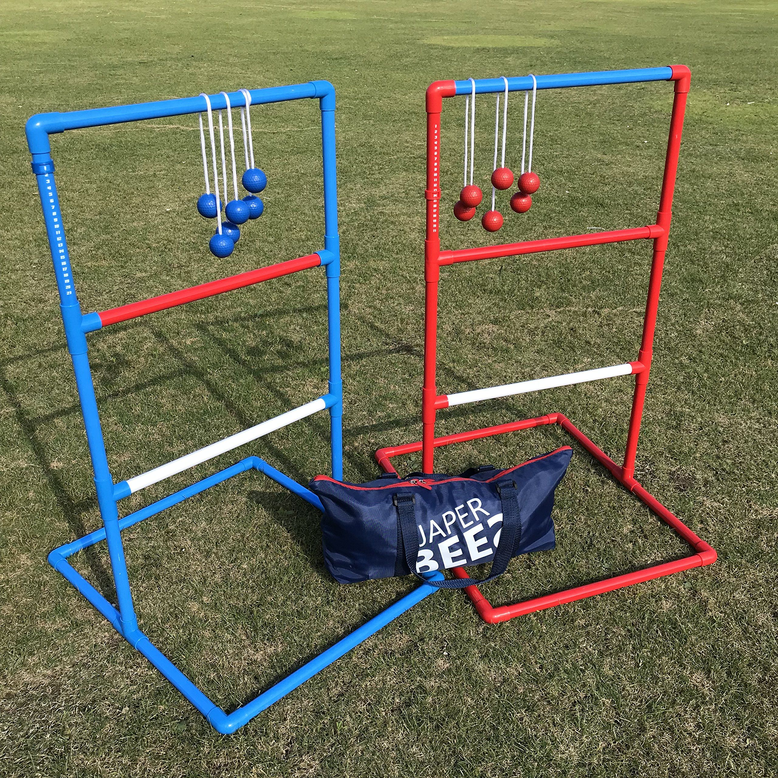 Golf Balls Japer Bees Premium Rope Ladder Golf Toss Yard Game Blongo Bolo Ball Lawn Game With Thickest Pipes 6 Rea Ladder Ball Bolo Ball Outdoor Ball Games