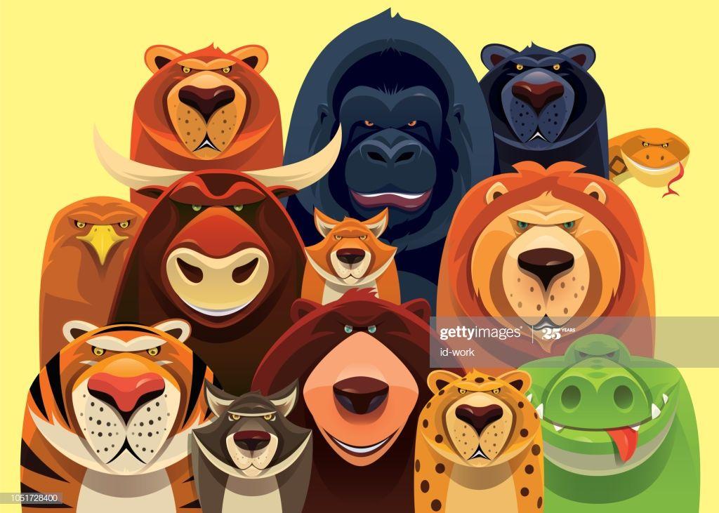 Vector Illustration Of Group Of Dangerous Wild Animals Gathering Animals Wild Animal Illustration Vector Illustration