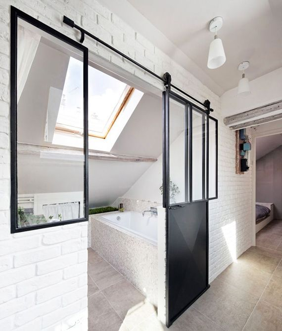 Photo of cool bathroom idea for small bathroom with sloping ceilings and glazing in the indus, #bath #bathroom …