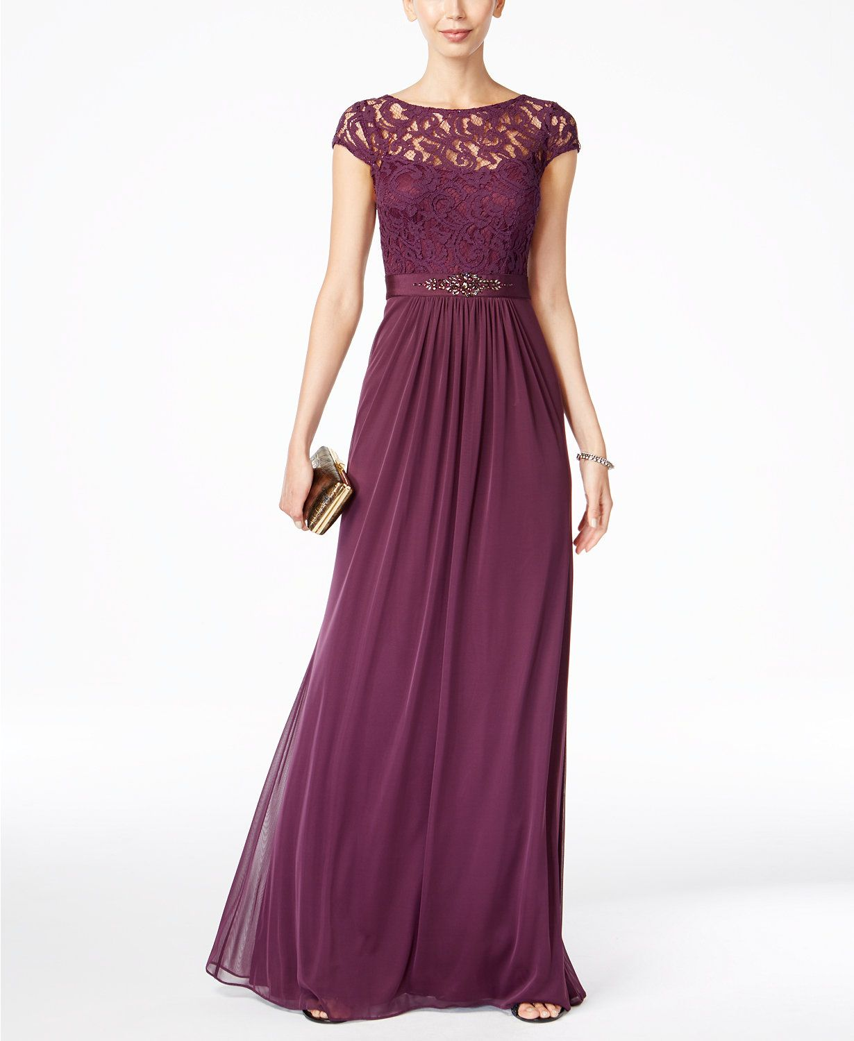 Adrianna Papell Lace Illusion Gown | macys.com | M.O.B. | Pinterest ...