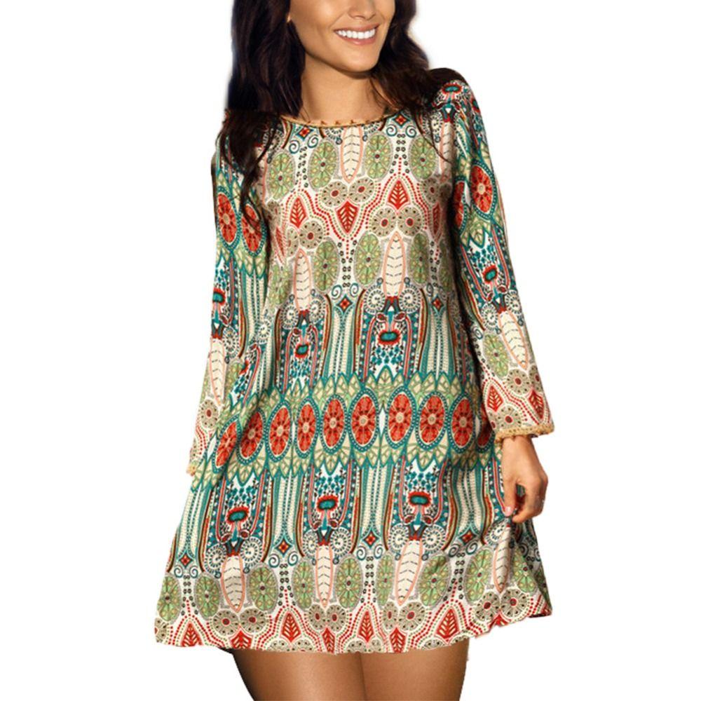 2017 mode sommer vintage ethnische dress sexy frauen boho floral ...