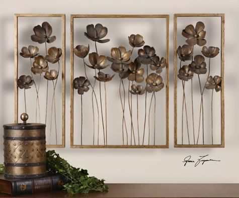 Metal Tulips Wall Art Sculpture, Set of 3. Available at AllSculptures.com