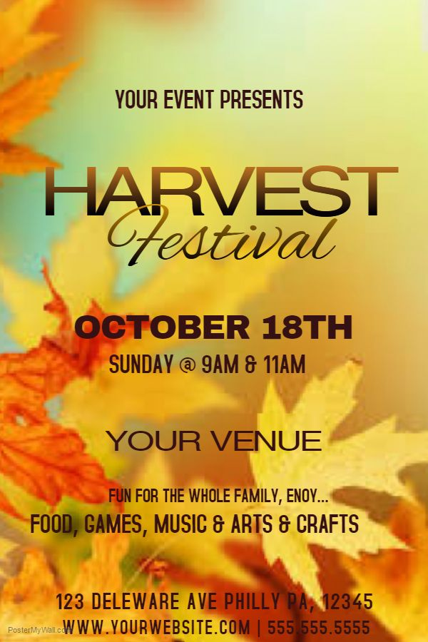 Harvest Festival Poster Template. | Autumn/Fall Posters ...