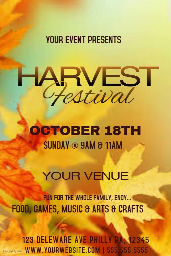 Harvest Festival flyer social media post template