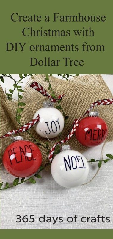 Create a Farmhouse Christmas with DIY ornaments from the Dollar tree. Make a set for under $4. #dollartreecrafts