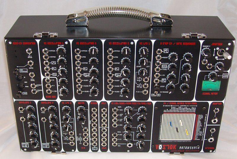 Vostok suitcase synth with matrix pin patch board, EMS VCS3 Synthi