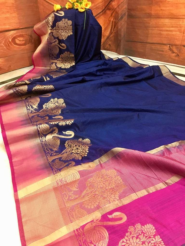 4179f15ad86760 Katan out-of-the-box Navy Blue color Kora Silk saree is an unique piece due  its appearance. The glossy Navy Blue color saree contrasts with Hot Pink  border ...