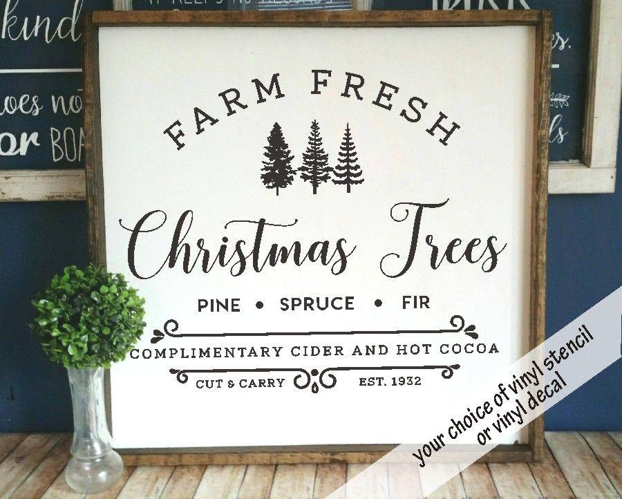 Diy Farmhouse Style Decal Farm Fresh Christmas Trees Vinyl Etsy Christmas Decals Christmas Tree Vinyl Fresh Christmas Trees