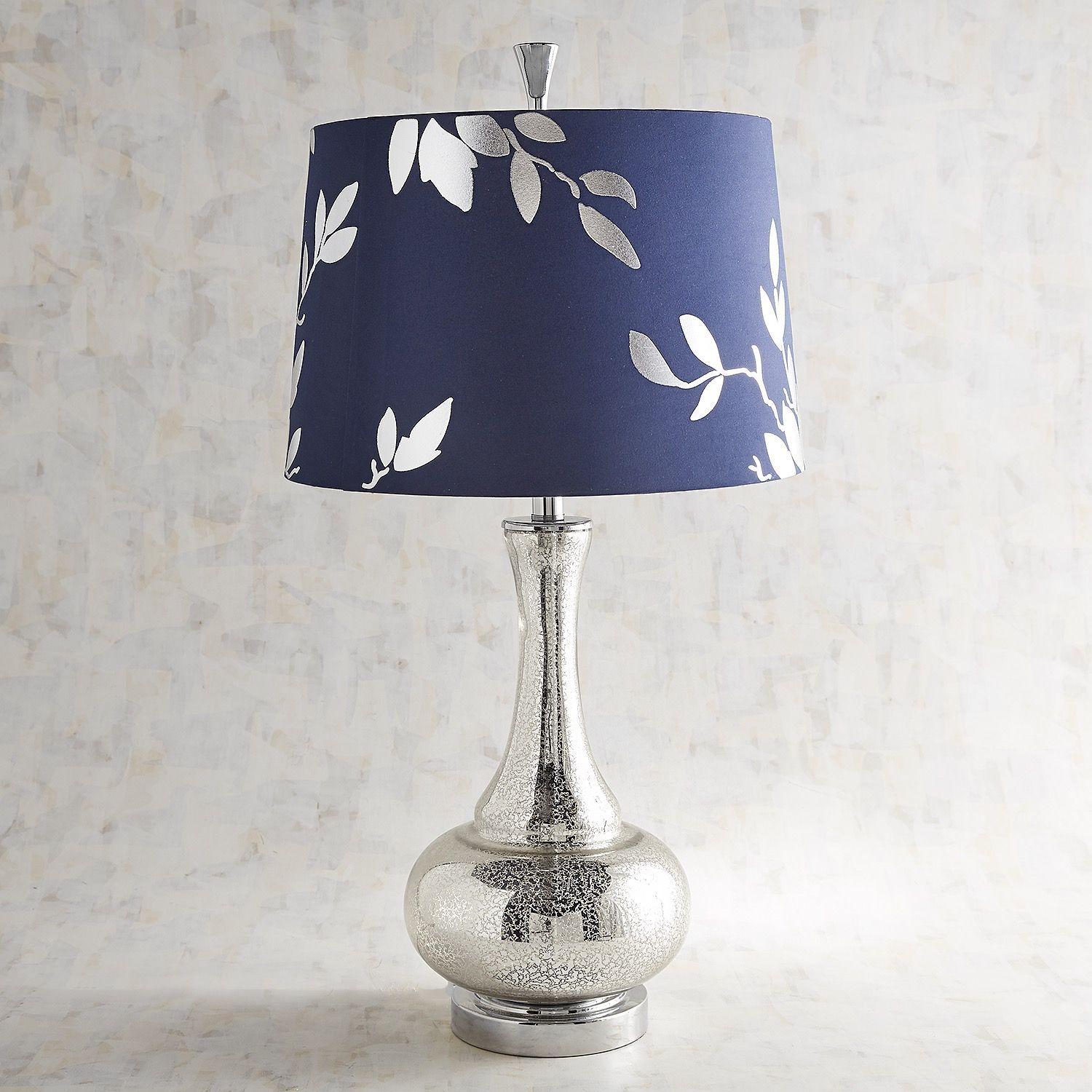 Navy Silver Leaf Glass Table Lamp Table Lamp Lamp Silver Lamp