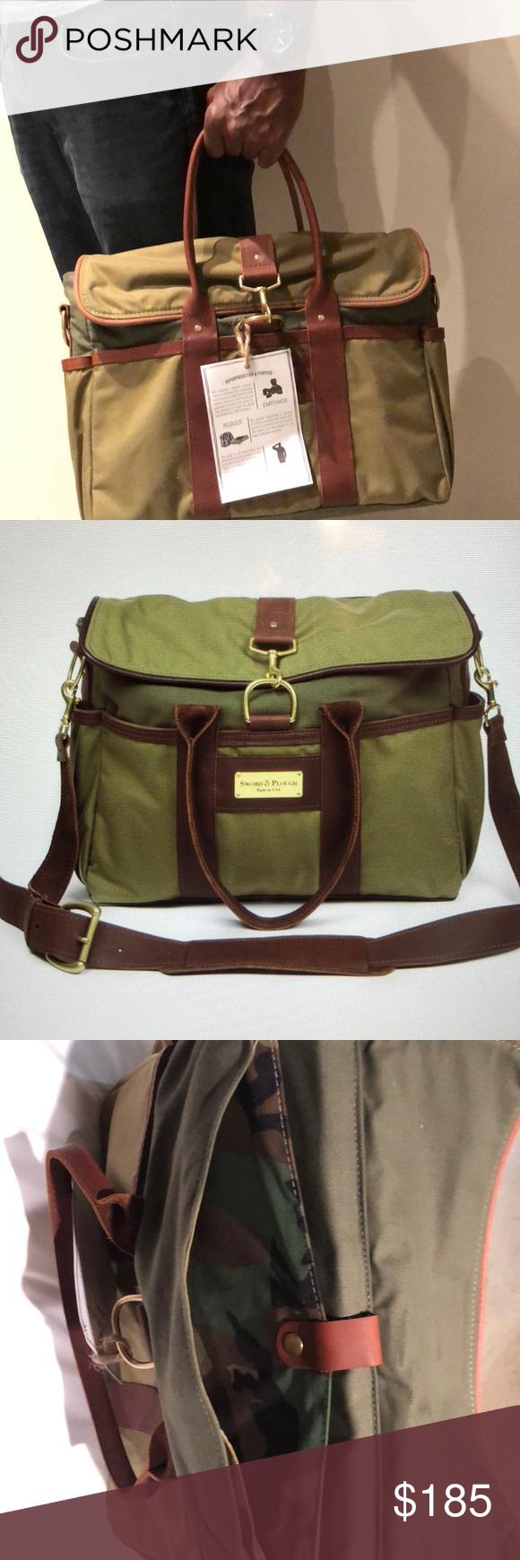 ffb5988eb8f62 Sword   Plow Green Signature Messenger Bag Green messenger bag with nylon  fabric and full grain