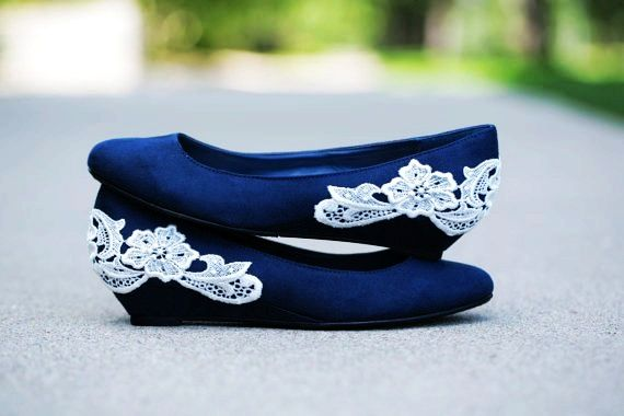 Navy blue ballet flat/low wedge wedding shoes with ivory lace ...
