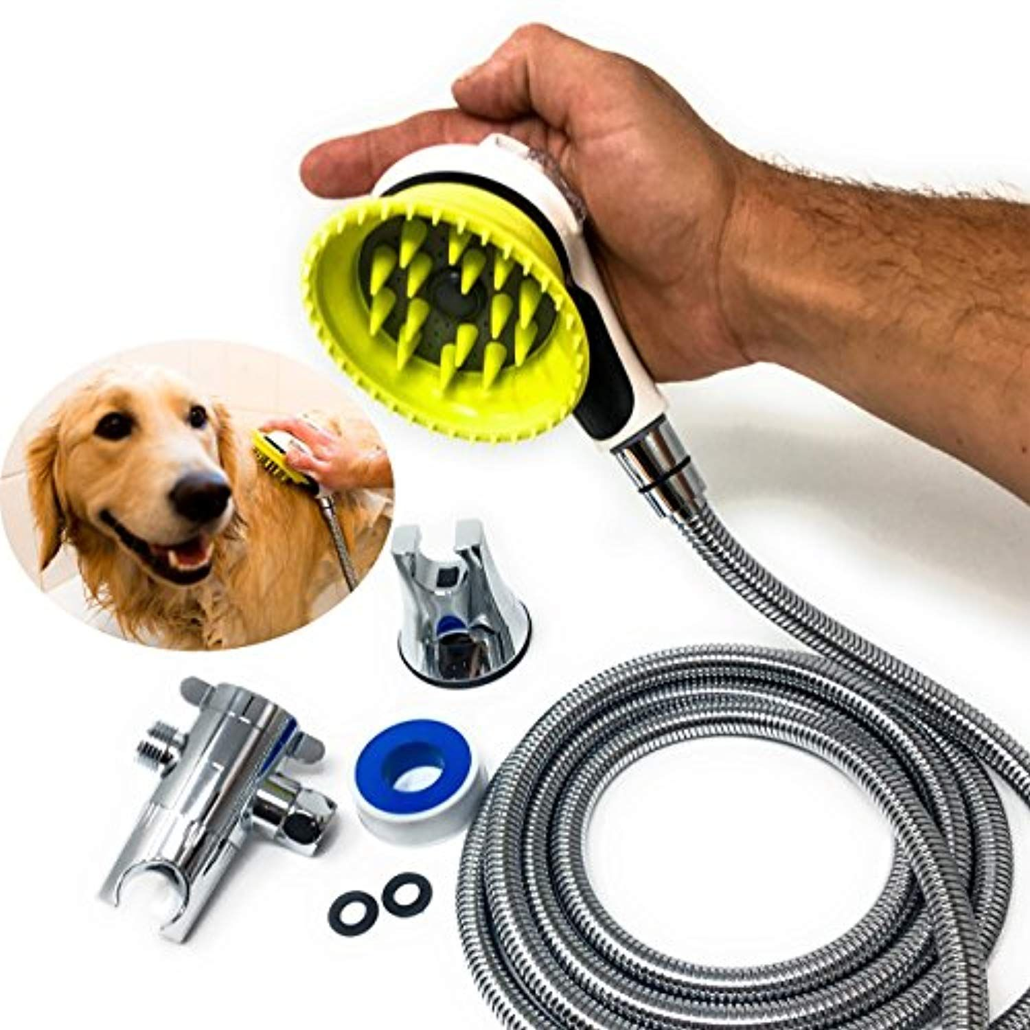 All In One Quality Dog Shower Kit Water Sprayer Brush And Rubber Shield 8 Foot Hose Diverter Suction Cup Holder Dog Shower Suction Cup Holder Dog Wash
