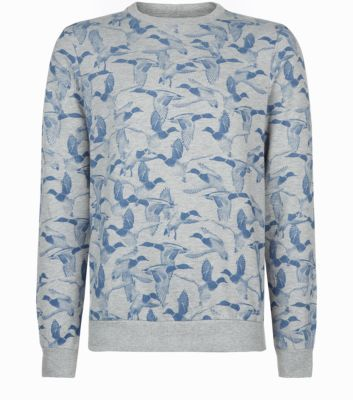 Blue and Grey Duck Print Sweater