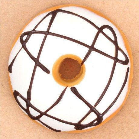 Cute Light Cream Color Brown Icing Donut Bun Squishy Food