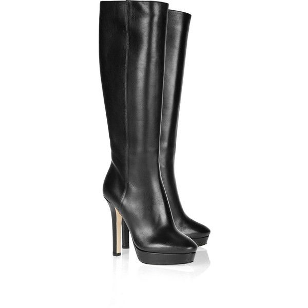 Jimmy Choo Mirage leather knee boots found on Polyvore
