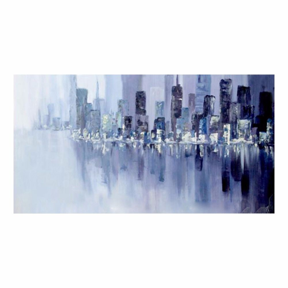 Framed Hand Painted Cityscape Oil Painting On Canvas Abstract Wall