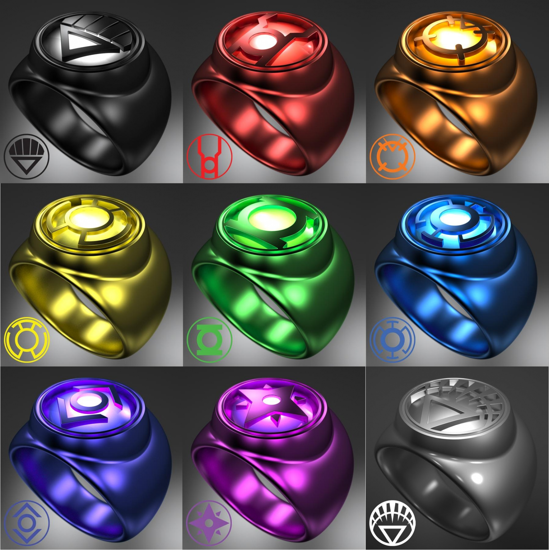 lantern corps rings | Ring Slingers | Pinterest | Comic