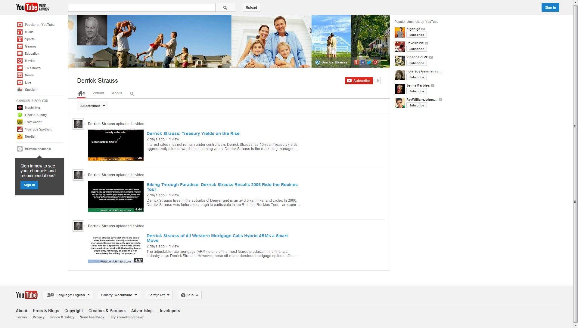Derrick Strauss Youtube
