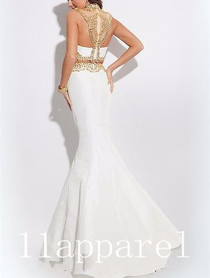 b4e15c4fdc9a Sexy Long Backless Mermaid White Gold Prom Dresses 2016 Two Piece Evening  Dress