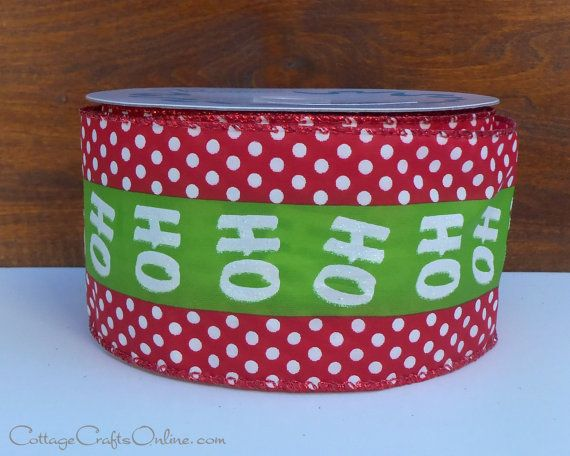 ho ho ho polka dot glittered christmas wired ribbon 2 12 wide white polka dots on red with a lime green center stripe