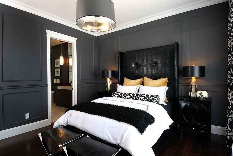 Bold Black And White Bedrooms With Bright Pops Of Color Black Bedroom Design Bedroom Interior Masculine Bedroom Design