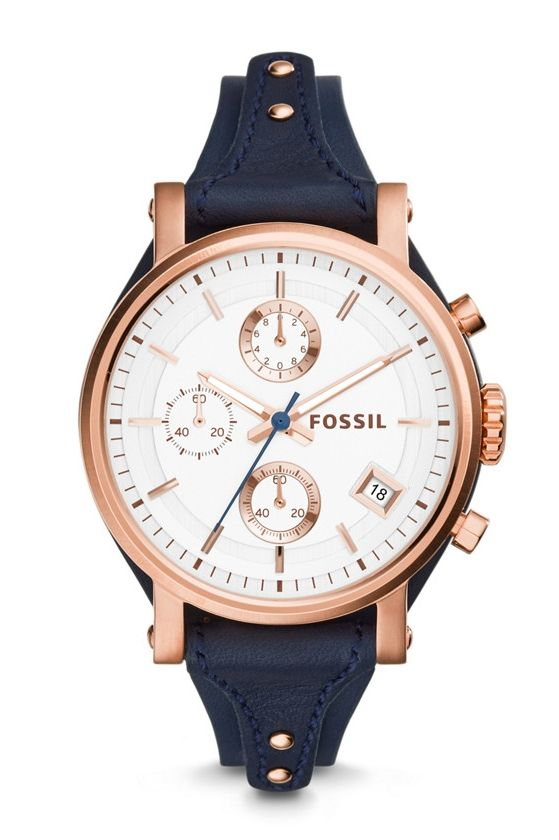 354a7fe4b470 Fossil Original Boyfriend Chronograph Leather Watch - Blue❤ ❤ ❤️