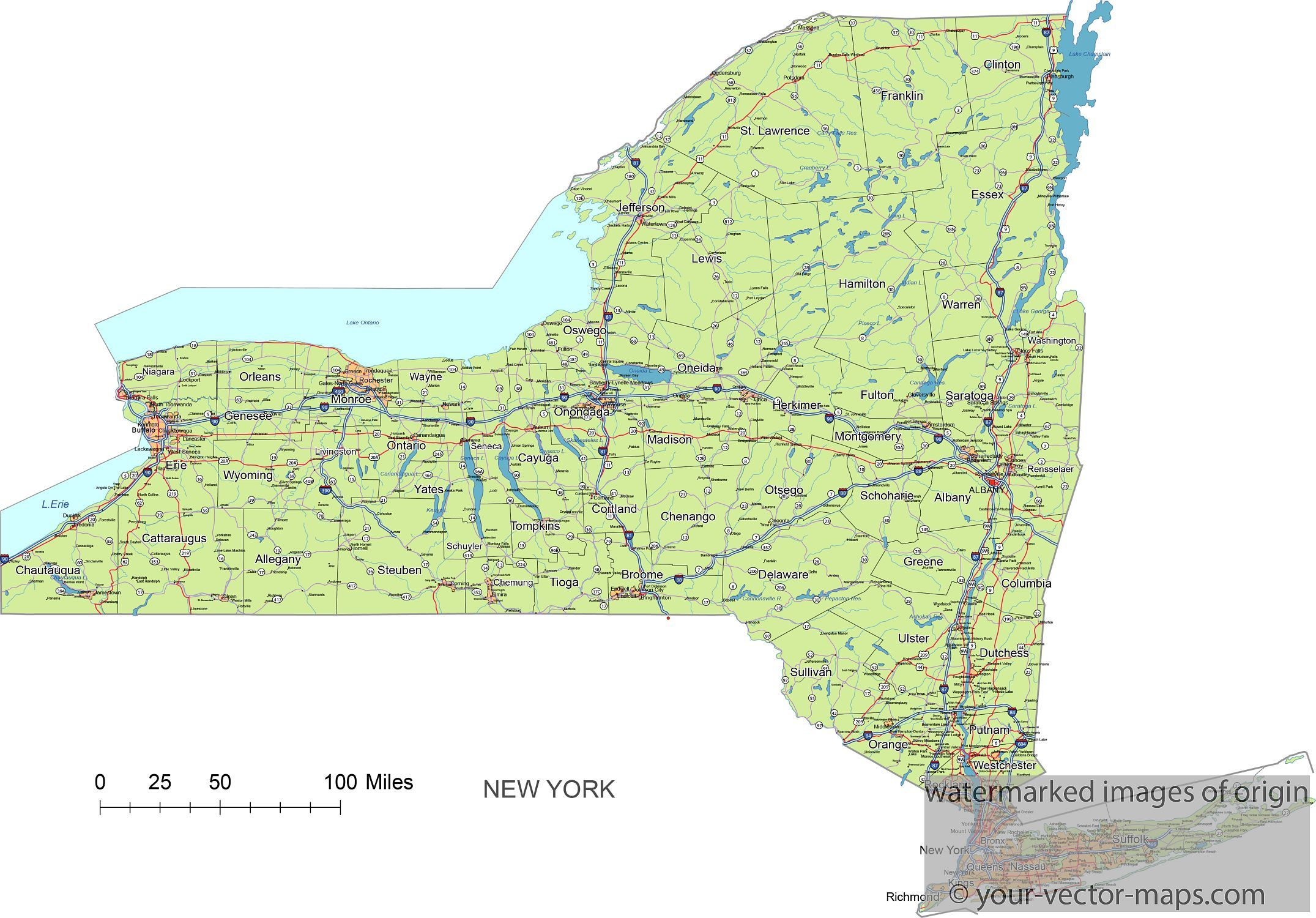 New York State Route Network Map New York Highways Map