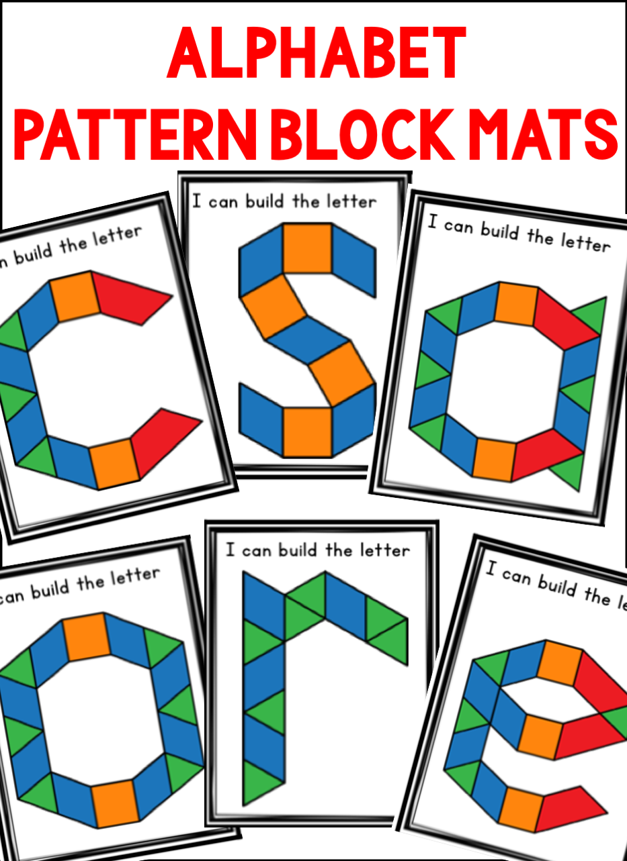 Alphabet Pattern Block Mats Lowercase Letters Pattern Blocks Lower Case Letters Math Activities Preschool [ 1283 x 933 Pixel ]