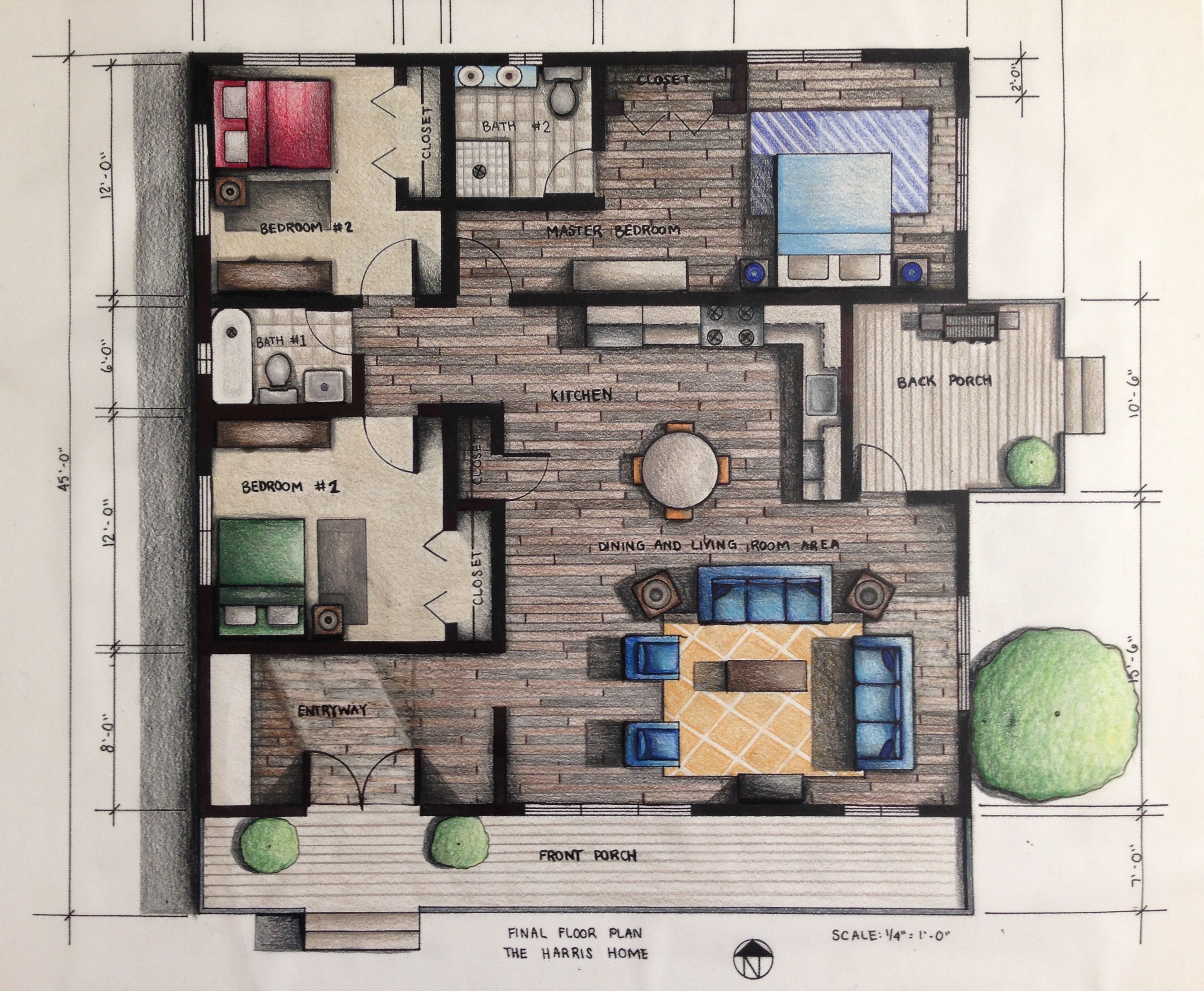 Rendered floor plan hand rendered using prismacolor for Interior design plan drawings
