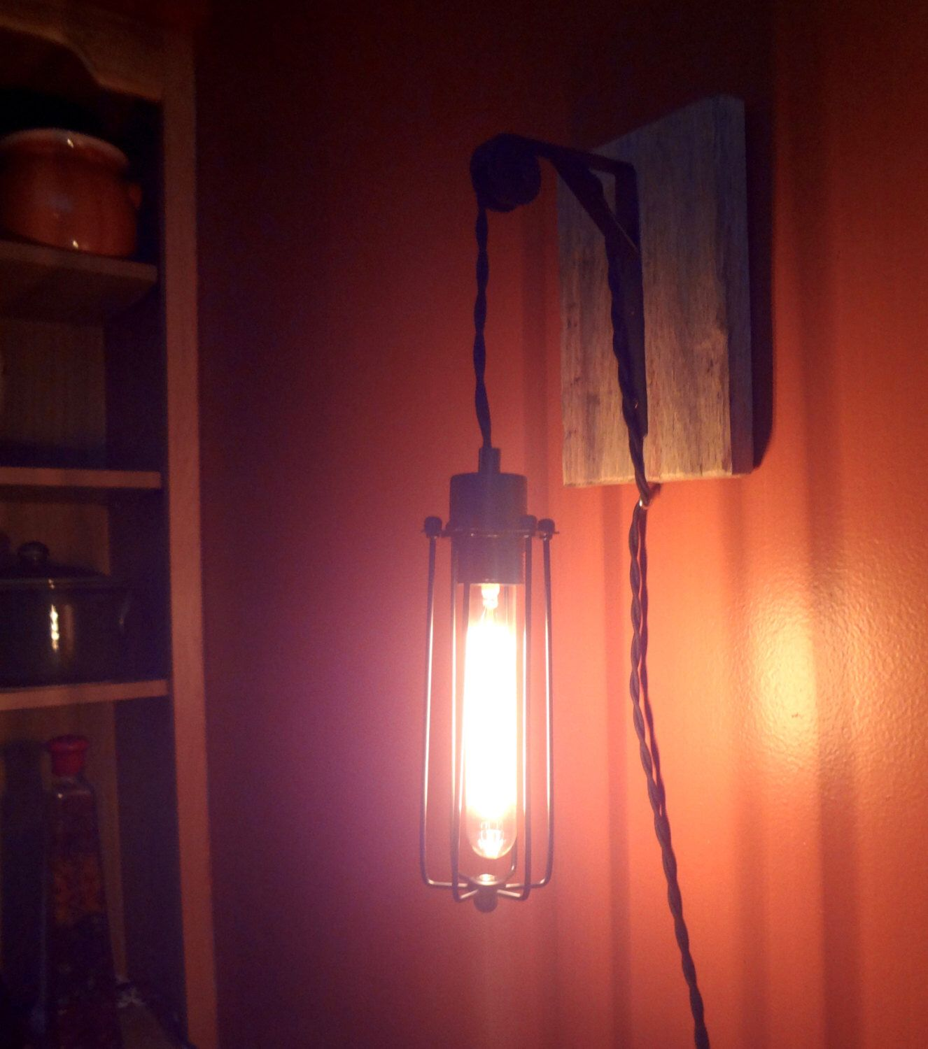 steampunk lighting. Edison Lamp, Pulley Steampunk Wall Lighting, Sconce, Accent Pendent Light, Rustic Lighting M
