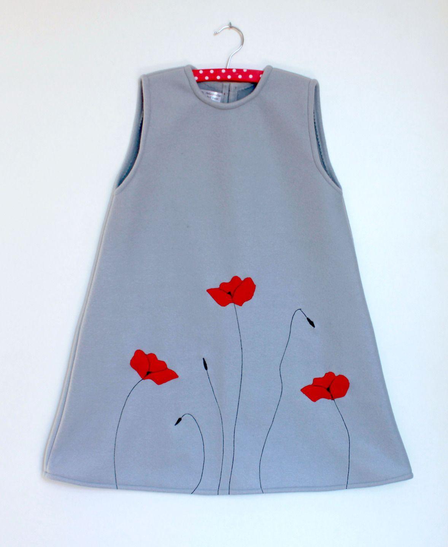 robe 8 10 ans polaire gris et coquelicots rouges mode. Black Bedroom Furniture Sets. Home Design Ideas